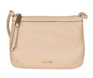 Calvin-Klein-Women-s-Pebble-Leather-Carrie-Crossbody-Bag-Off-White-NEW