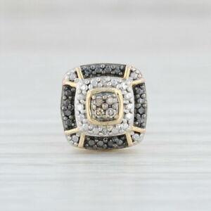 Diamond-Halo-Single-Stud-Earring-Sterling-Silver-Black-White-Champagne-Diamonds