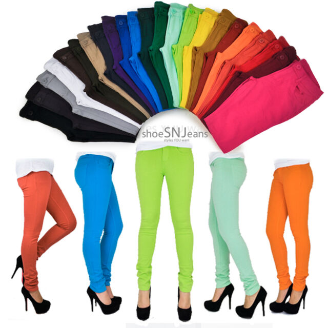 Women Skinny Colorful Jeggings Stretchy Sexy Pants Soft Leggings Pencil Zipper