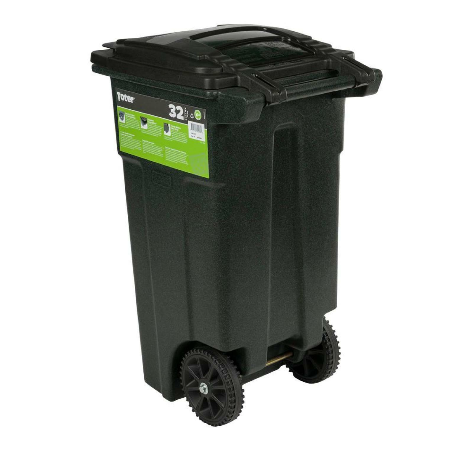 Green Trash Can with Wheels and Attached Lid Garbage Container Home 32 Gallon