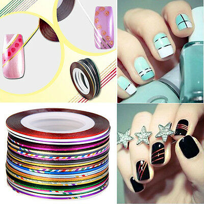30Pcs Mixed Colors Pretty Rolls Striping Tape Line Nail Art Decoration Sticker