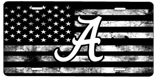 Custom Black and White American Flag Alabama Crimson Tide Vanity License Plate