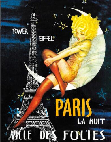 Plaque Paris la nuit ville des Folies métal signe tin Poster Mur Plaque