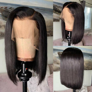 Real-Thick-Peruvian-Raw-Human-Hair-Wigs-Short-Bob-Style-Lace-Front-Wig-Off-Black