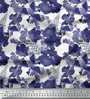 White Soimoi Floral Print 20 GSM 44 Inches Wide Dressmaking Pure Silk Fabric Material by The Meter