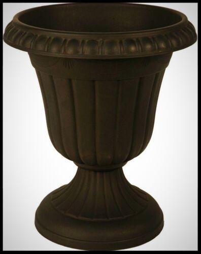 Urn Planter Black Plastic Indoor Outdoor Plant Pot Garden Porch Patio Decor Vase