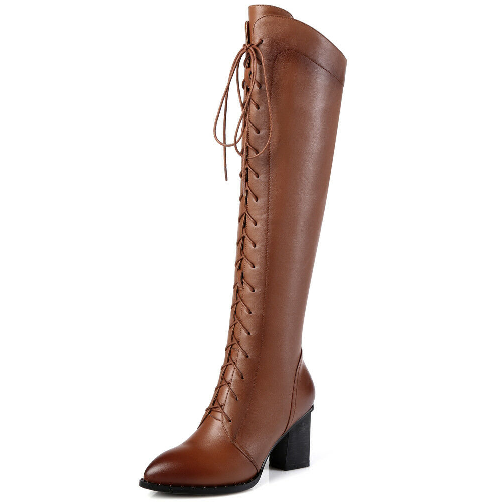 Elissara Womens Leather Zip Mid Heel Pointed Toe  Lace Up Knee High Boots shoes