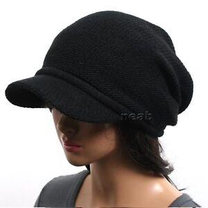 Image is loading New-men-women-VISOR-BEANIE-knit-black-Hat- b4d6de1fee