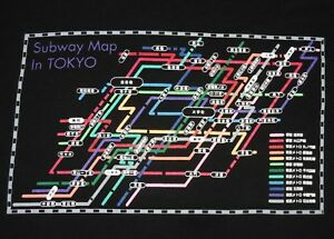L Subway Map.Tokyo Subway Map T Shirt Size L Large Japan Ebay