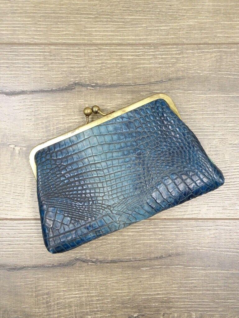 Gringo Fairtrade Blue Snake Skin Effect Leather Coin Purse