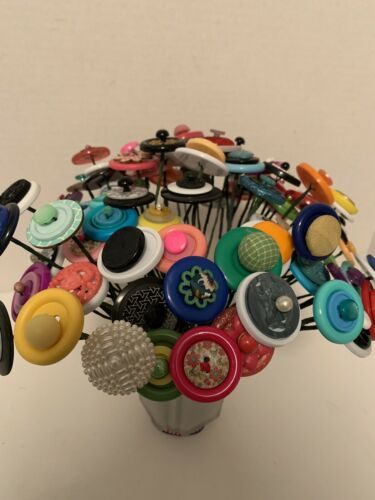 VTG Button Flowers//Polk's $2.00 Each~Make Your Own Bokay~Primitive Home Decor