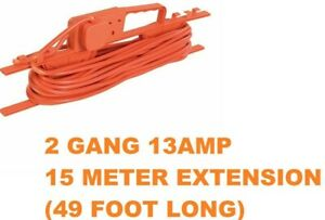 2-GANG-ORANGE-OUTDOOR-GARDEN-13AMP-EXTENSION-LEAD-CABLE-15M-CABLE-TIDY-FRAME