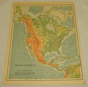 Color Map Of North America.1898 Color Map Of North America Ebay