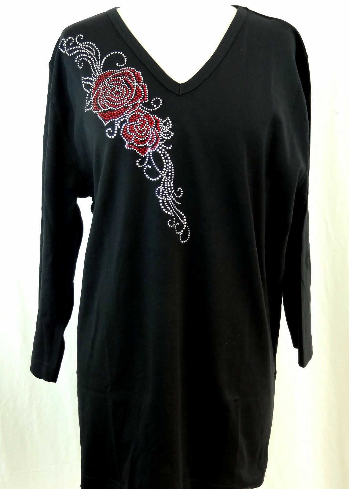 PLUS SIZE 2X Hand Embellished Rhinestone Trailing Red & Crystal pinks Top Shirt