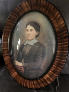 Tiger Stripe Oval Frame Convex/Bubble Glass W/ Portrait Of Woman Painted Details