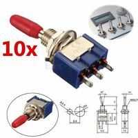 10pcs MTS-102 3-Pin SPDT ON-ON 6A 125VAC Mini Toggle Switches 2 Position Blue Em