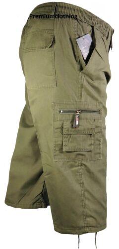 Da Uomo 3//4 Estate Pantaloncini Elastico In Vita Cargo Combat tre quarti Vacanza Mimetico