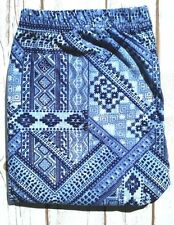 PLUS Size Blue Aztec Patch Print Leggings Soft Curvy