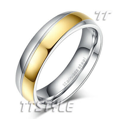 TTstyle 5mm Width Two-Tone Gold Stripe S.Steel Wedding Band Ring Size 6-9