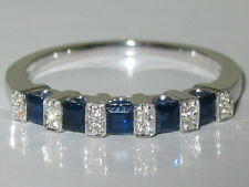Genuine Blue Sapphire and Diamond Anniversary Band 14k White Gold Ring