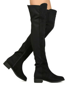 Womens-Over-The-Knee-Boots-Low-Heel-Ladies-Zip-Casual-Riding-Thigh-High-Boots