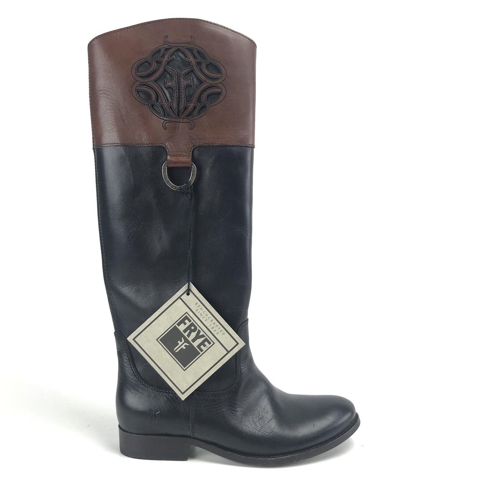 per poco costoso Frye donna stivali stivali stivali 6.5 Melissa Logo nero Marrone Antiqued Polished Leather Rare  presa di fabbrica