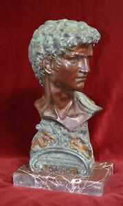 Statua bronzo busto David base in marmo - Italia - Statua bronzo busto David base in marmo - Italia