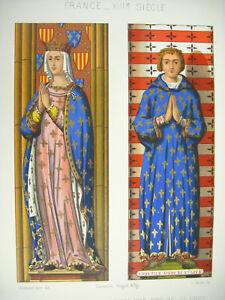 Marguerite-de-Provence-amp-Louis-fils-du-Saint-France-XIII-Litho-XIXe-1858-Hangard