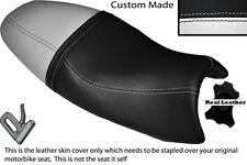 WHITE & BLACK CUSTOM FITS TRIUMPH SPEED TRIPLE 08-10 1050 LEATHER SEAT COVER