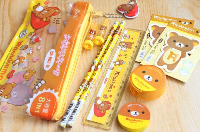 Rilakkuma Relax Bear Cute Stationery Set 8 in 1 Pencil Eraser Bookmark RR14