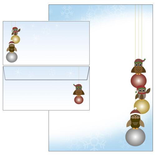 Eulen Weihnachtskugeln Set Motivpapier Briefpapier 20 Blatt A4 10 Umschläge