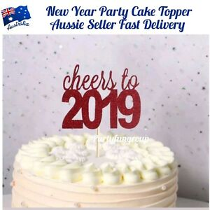 Red Glitter Cheers To 2019 New Year Party Cup Cake Topper Christmas