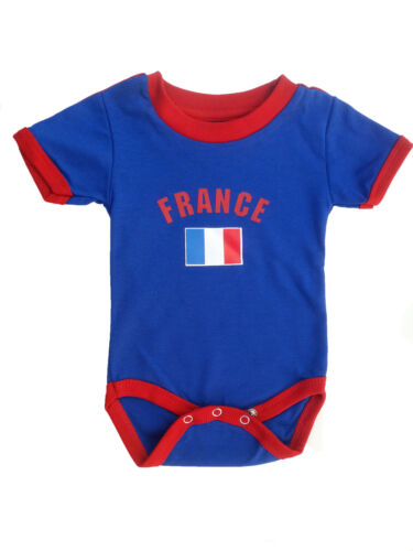 France Jersey Baby Bodysuit 100% Cotton Soccer Country Flag T-Shirt Infant