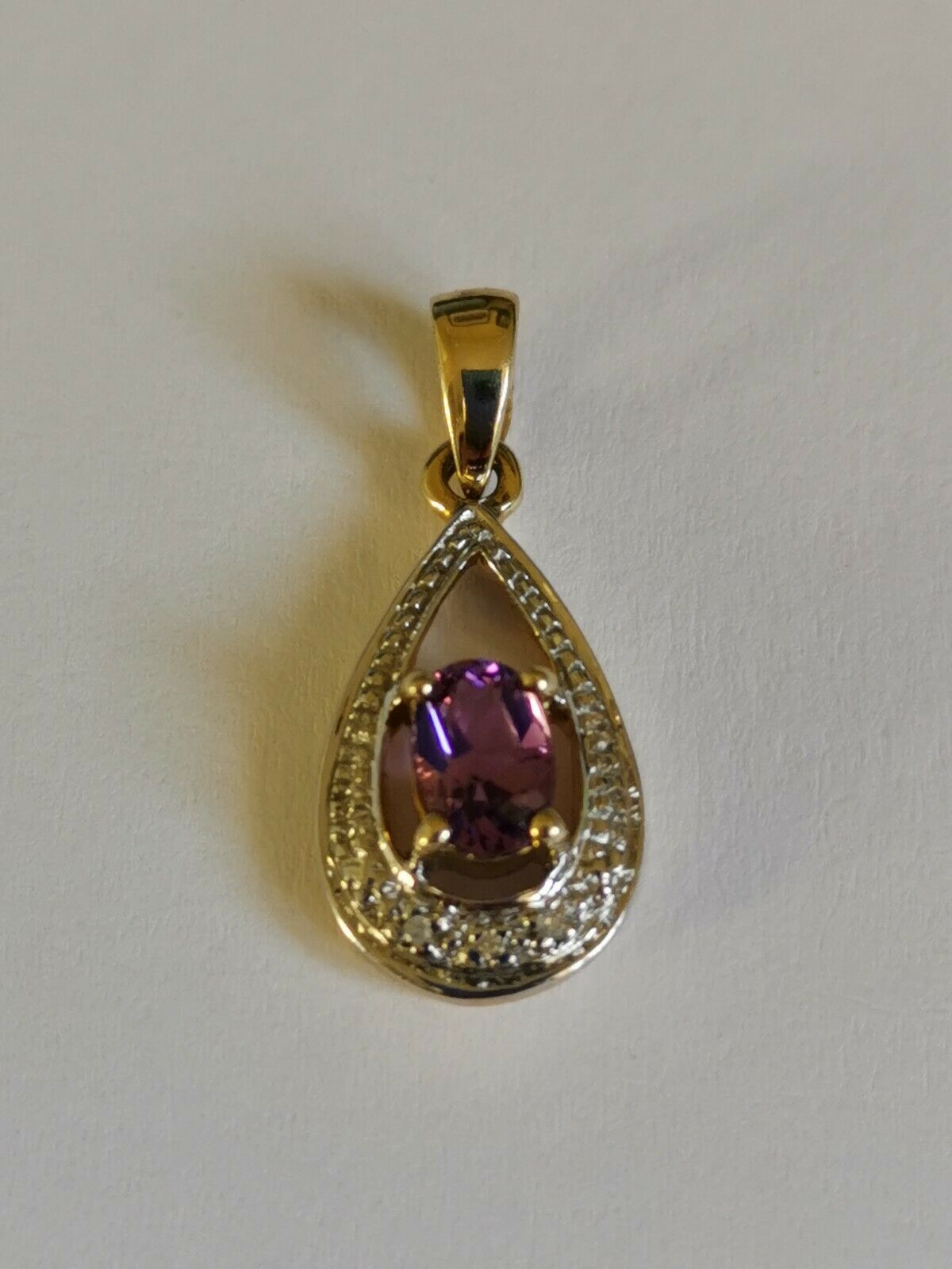 PURPLE AMETHYST diamond TEARDROP gold drop PENDANT 9ct NEW oval gemstone