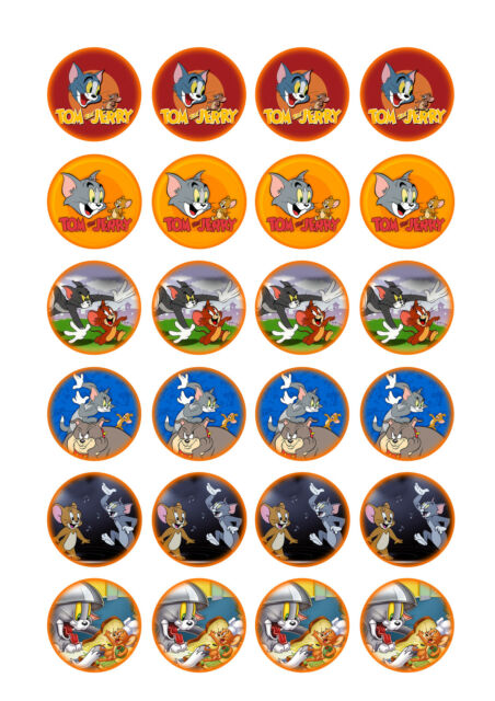 24 x Tom & Jerry Cup Cake Toppers ICING
