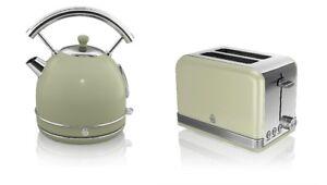 New Swan Kitchen Appliance Retro 1 7l Green Dome Kettle 2 Slice