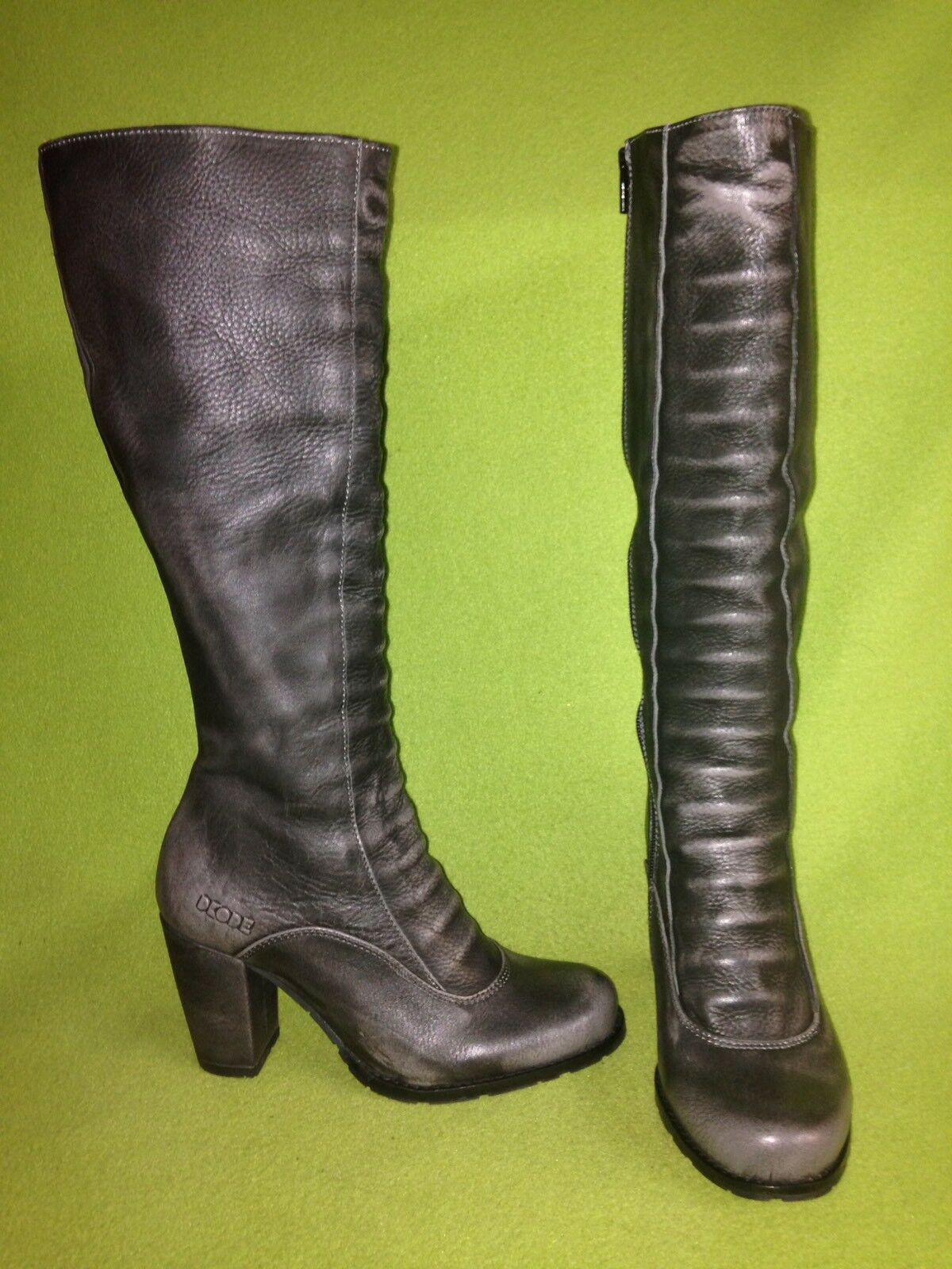 Silver Grey DKODE Knee-High Zip-Up Boots 5 35
