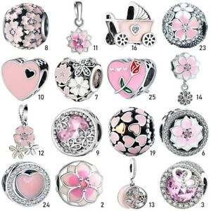 Flower-Pink-S925-Silver-Charms-Beads-Pendant-Fit-European-Bracelet-Chain-Bangle
