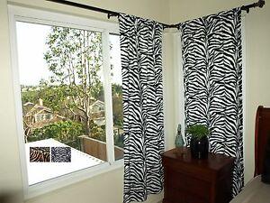 Image Is Loading Zebra Print Curtains 2 Panels 40 034 Long