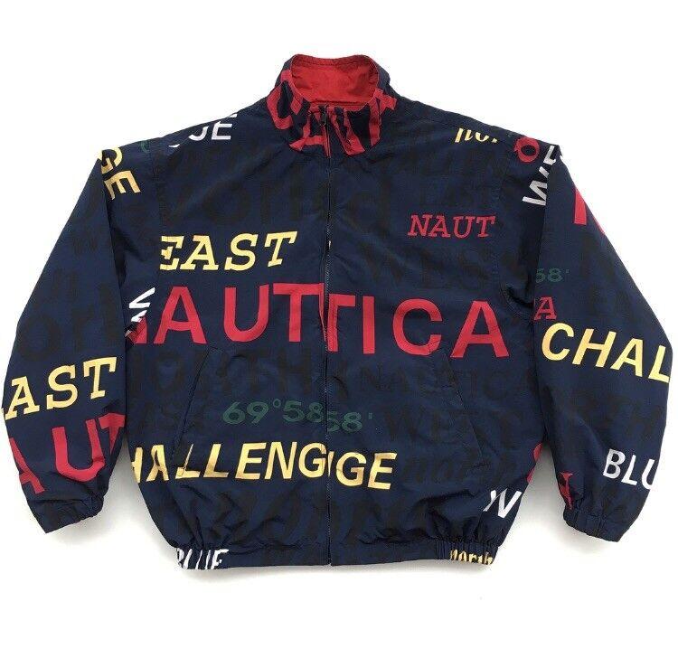 Vintage 90's Nautica Challenge All Over Print veste Medium Reversible East West