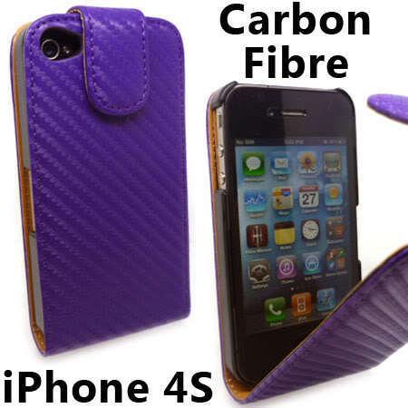 Slim Purple Carbon Fibre Flip Leather Case Cover for iPhone 4 S 4S +Screen Guard