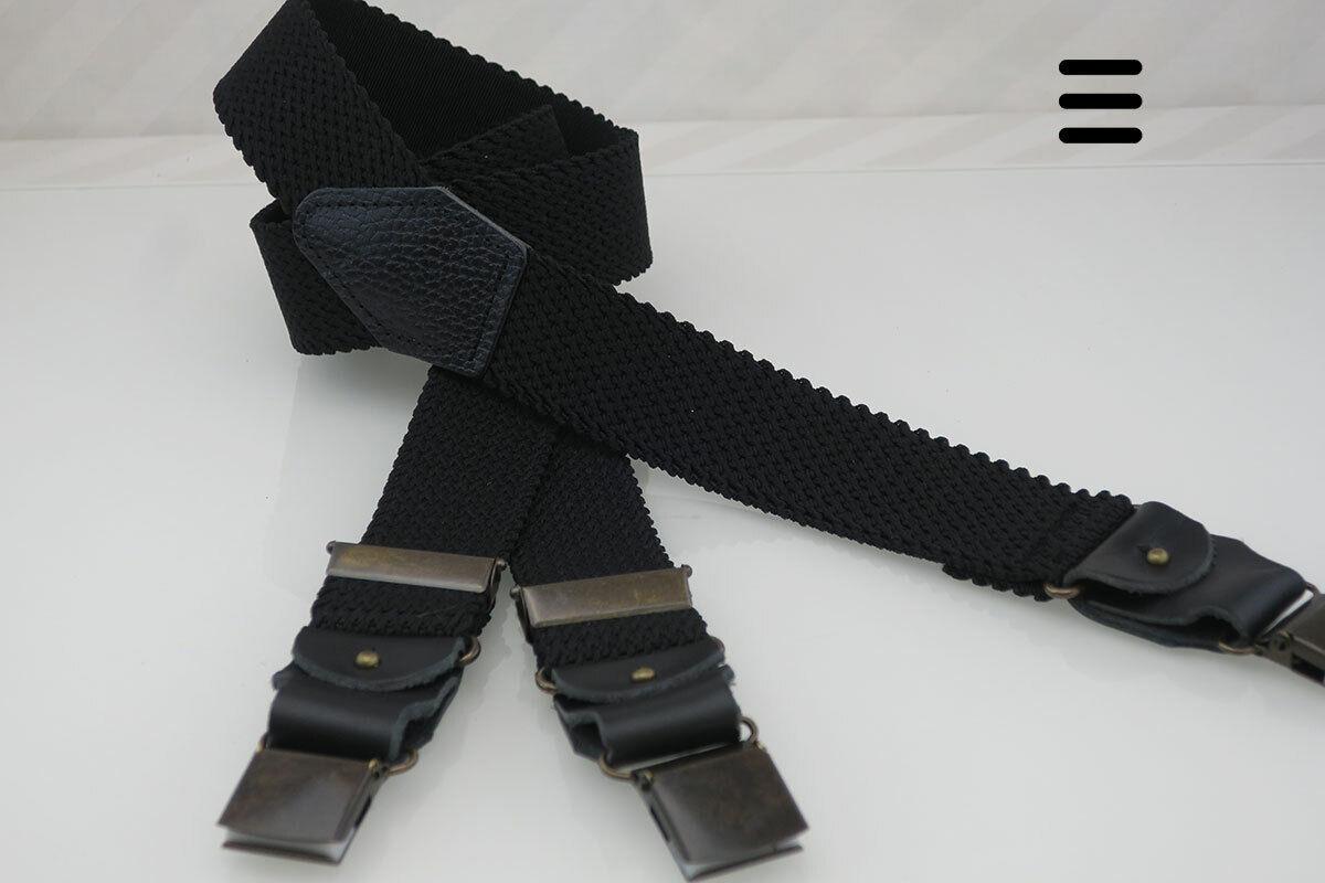Y-Hosenträger Karo uni schwarz mit Wechsel-System, zum Jeans-/ Business-Outfit