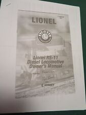 LIONEL - OWNERS MANUAL - RS-11 DIESEL LOCO  # 71-8596-250 (PHOTOCOPY)