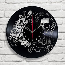"Skull Girl Rose Vinyl Record Wall Clock Home Art Decor 12"" 30cm A476"