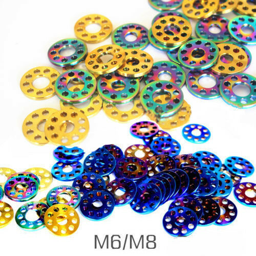 6Pcs M6 M8 Bicycle Titanium Alloy 9 Holes Sheet Flat Gaskets Ti Shim Pad Washer