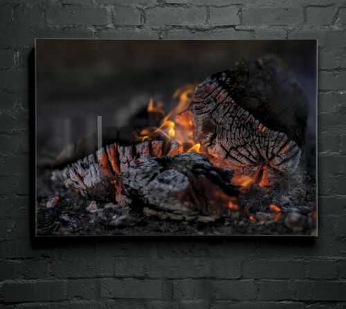 ANY SIZE Wall Art Glass Print Canvas Picture Large Embers Logs Fire Heat p88702