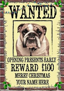 Bulldog Christmas PIDXM54 A5 Xmas Greeting Card Personalised Mum /& Dad