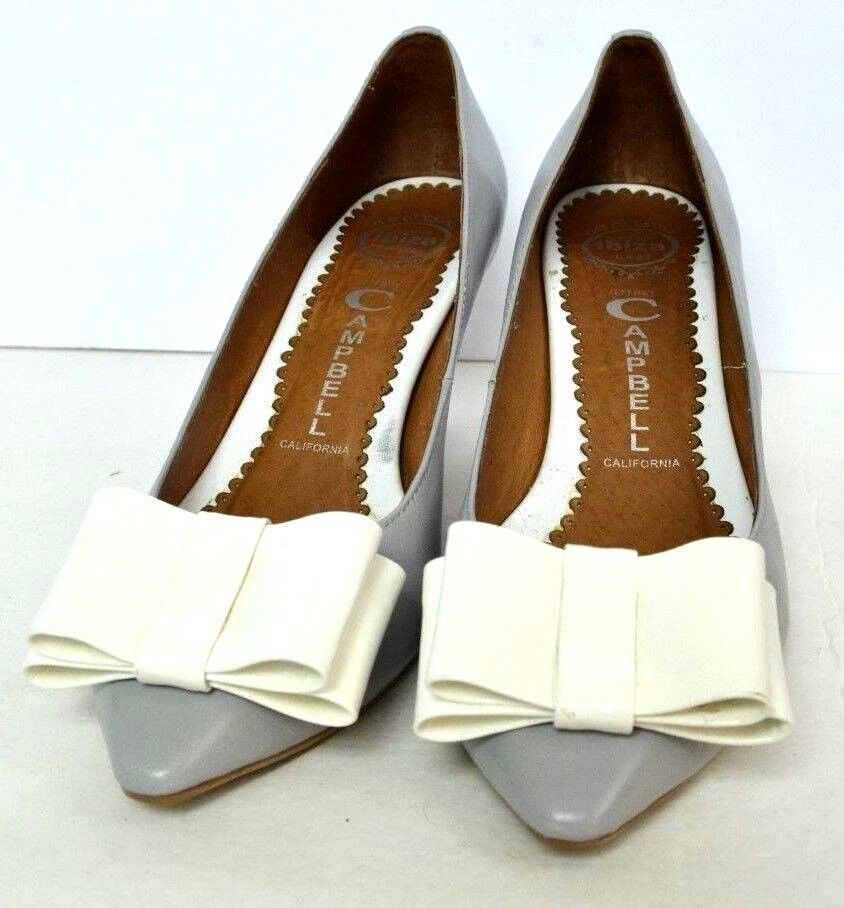 JEFFREY CAMPBELL CALIFORNIA GRAY AND WEISS GENUINE LEATHER Größe 8.5 HANDMADE