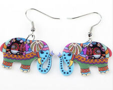 Trendy Acrylic Boho Elephant Earrings with Rhodium Plated Findings