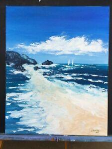 Large-Ocean-Beach-Seascape-Coastal-Original-Painting-Acrylic-Impasto-Art-20-x16